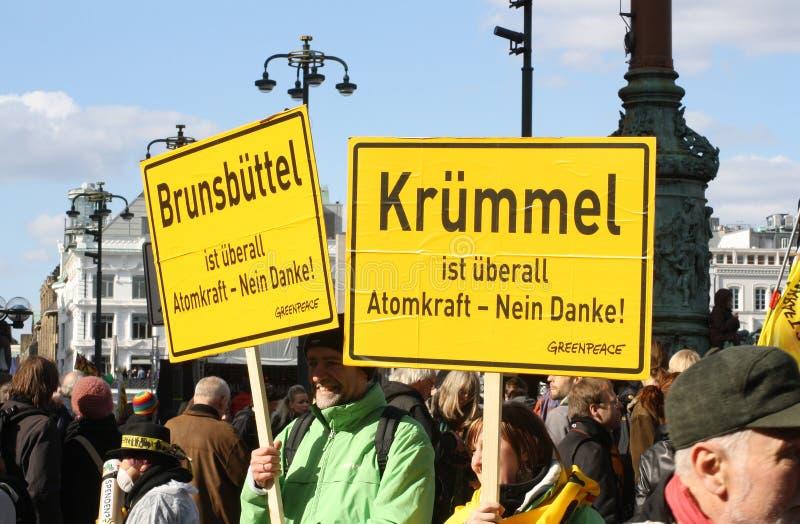 Anti protesto da energia nuclear Alemanha 2011 imagens de stock