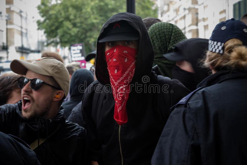 Anti protestos fascistas em Londres foto de stock