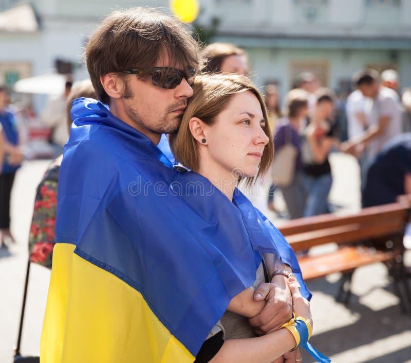 Anti-Putin-Sitzung zur Unterstützung Ukraines-Einheit lizenzfreie stockfotografie