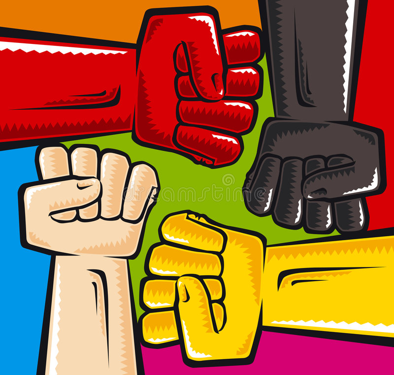 Anti racism. Symbol. Vector illustration. CMYK