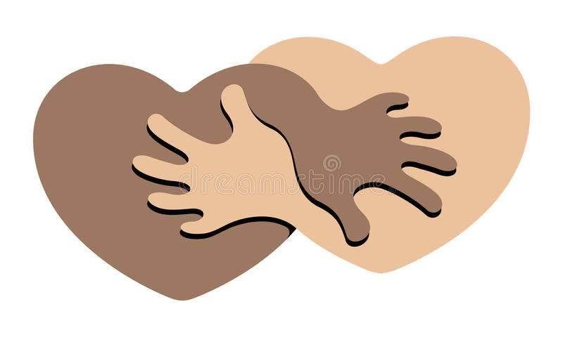 Anti Racism. An Abstract Symbol for Anti Racism Figuring Two Hearts Holding Each Other stock illustration