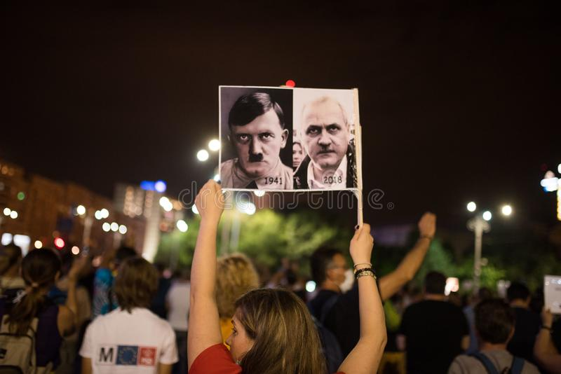 Anti--regering protest, Bucharest, Rumänien - 17 Augusti 2018 arkivfoto