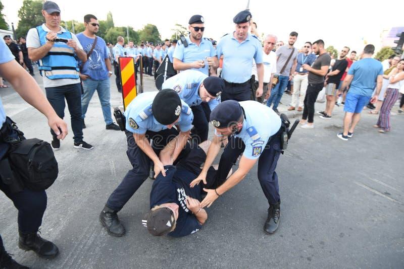 Anti--regering protest i Bucharest arkivbild