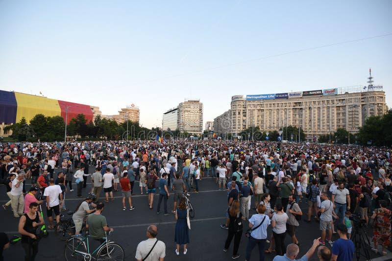 Anti--regering protest i Bucharest arkivfoto