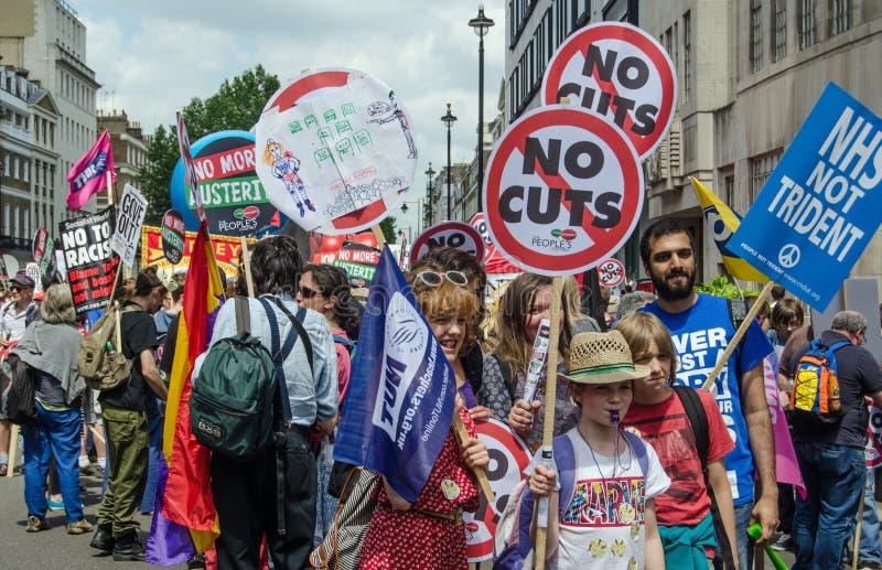 Anti--regering protest, London arkivbilder