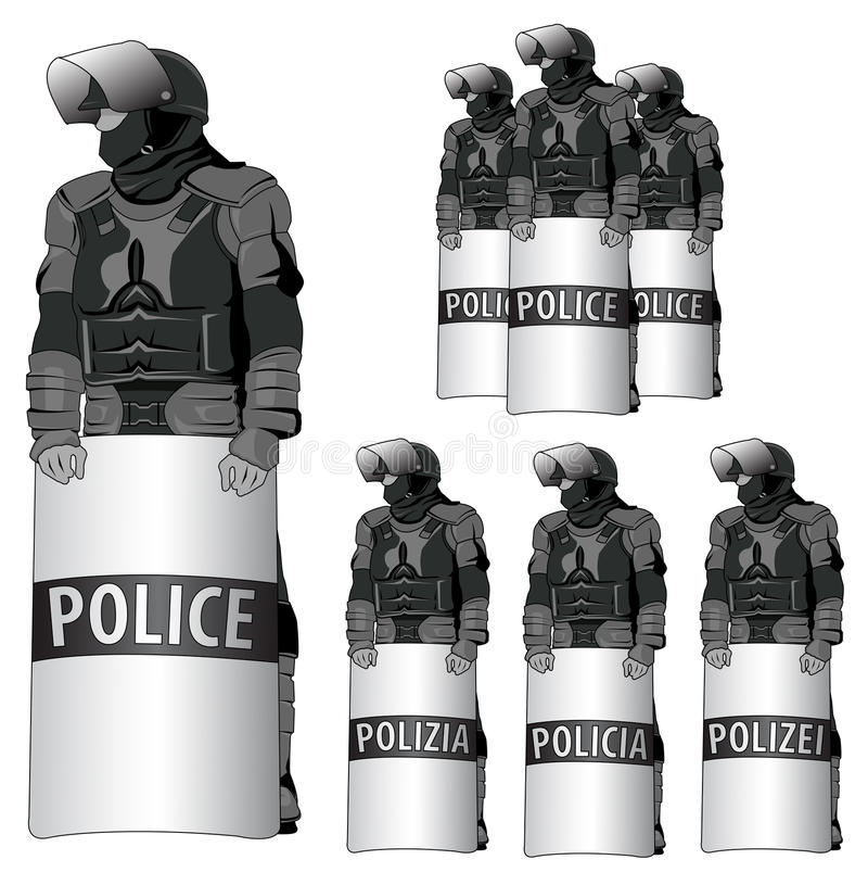 Anti Riot police - vector set. The word police comes in several languages - eps available vector illustration