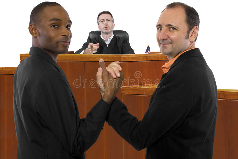 Anti Same Sex Marriage Judge. Judge against legalization of same sex marriage but gay couple looks resilient (People in the photo are models/actors and may have royalty free stock photo