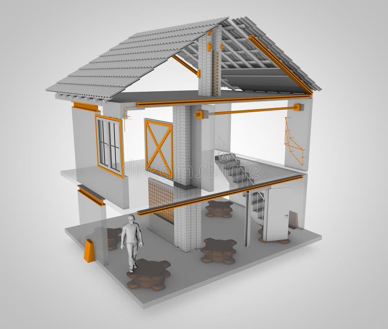 Anti-seismic huis, hier is hoe het wordt gedaan het 3d teruggeven vector illustratie