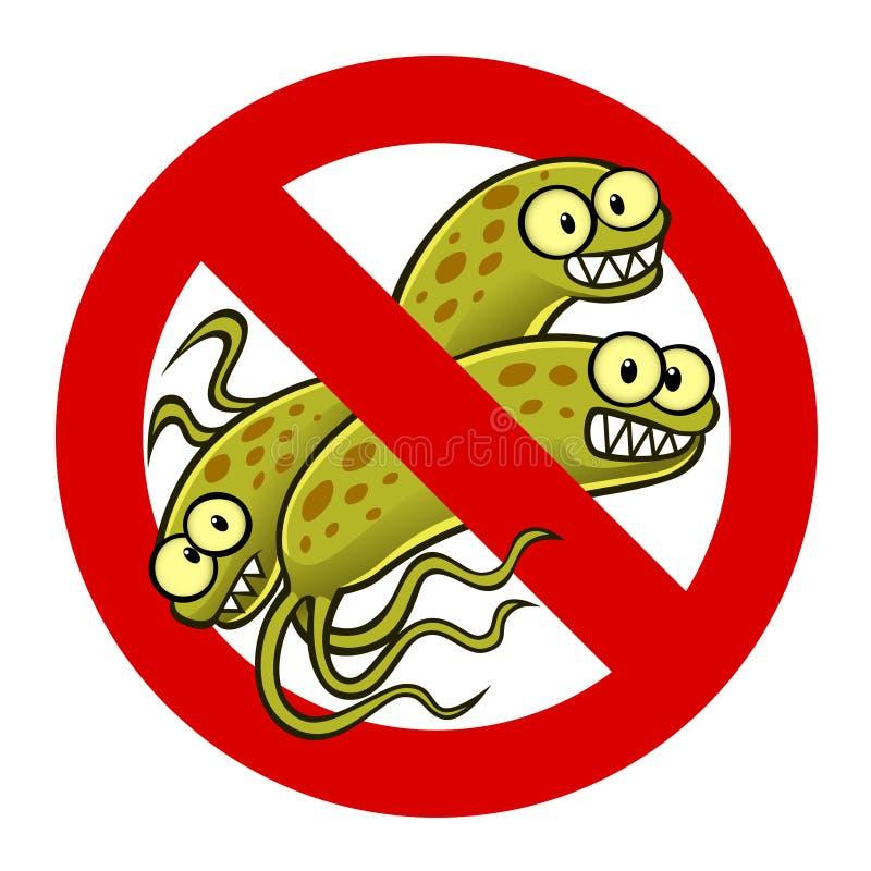 Anti sinal da bactéria ilustração royalty free