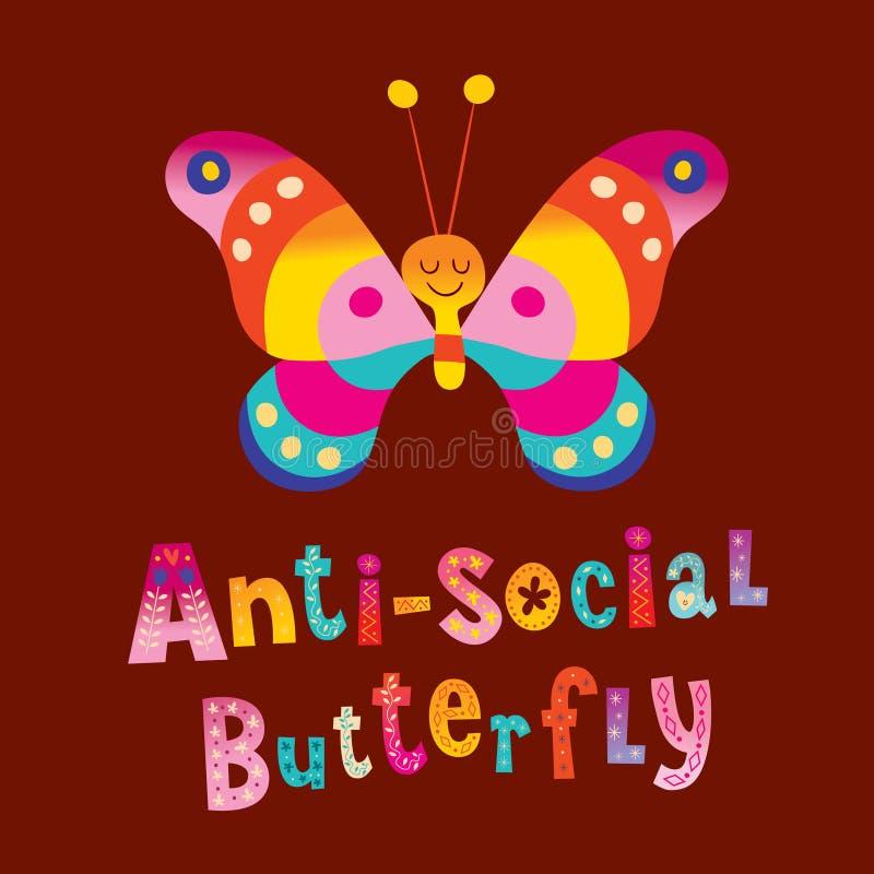 Anti social butterfly. T shirt design stock illustration