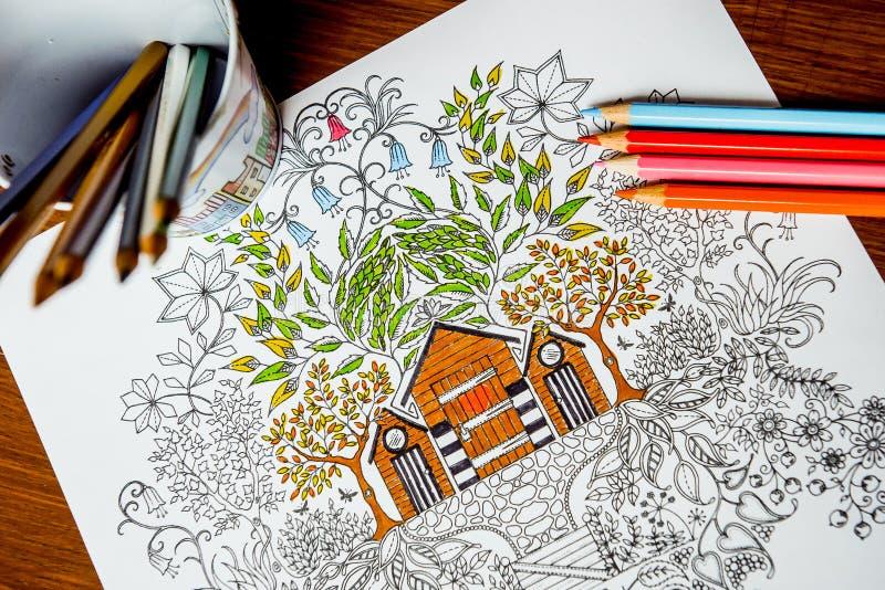 Anti--spänning färgläggningbok i teckningsprocessen royaltyfria foton