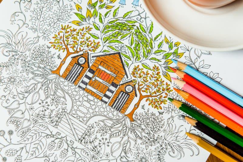 Anti--spänning färgläggningbok i teckningsprocessen arkivbilder