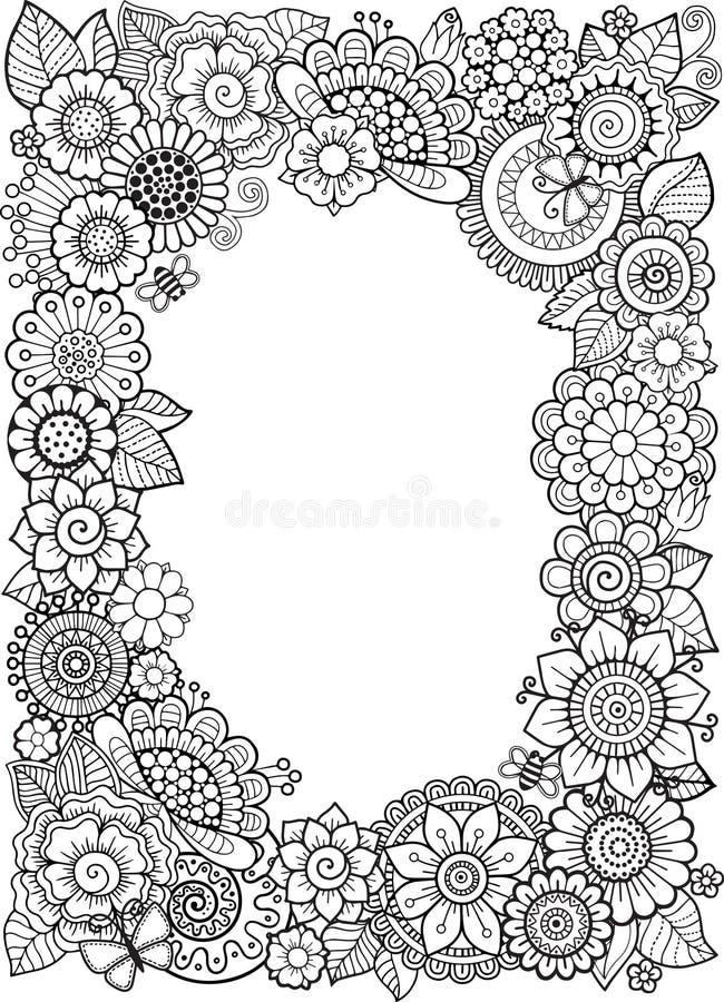 Anti--spänning för vektorfärgläggningbok för vuxna människor Klotterbeståndsdelar dekorativ blom- ram royaltyfri illustrationer