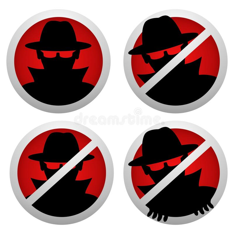 Anti-spionsymbol royaltyfri illustrationer