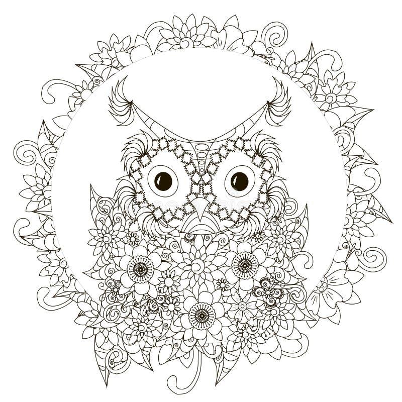 Anti stress abstract owl, flowering frame. Hand drawn monochrome vector illustration stock illustration