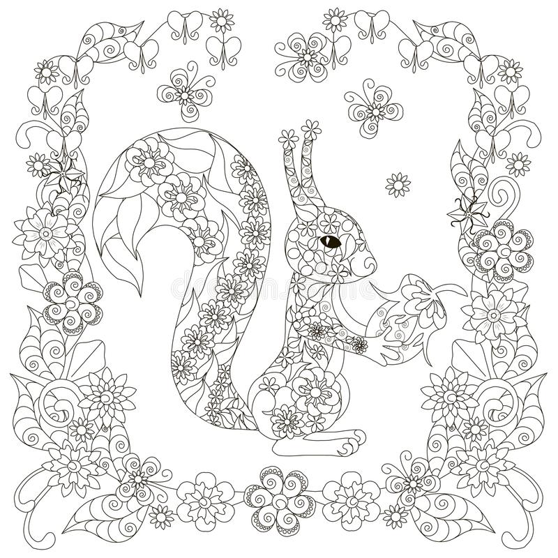Anti stress abstract squirrel with nut, square flowering frame. Hand drawn monochrome vector illustration stock illustration