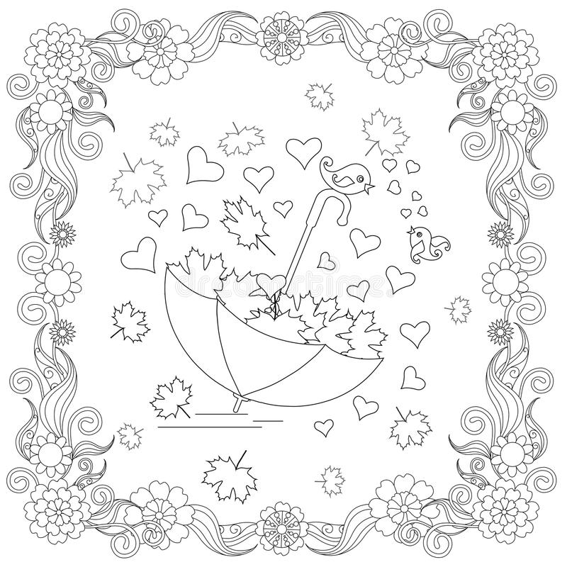 Anti Stress Abstract Umbrella Hearts Lovebirds Maple Leaf Stock