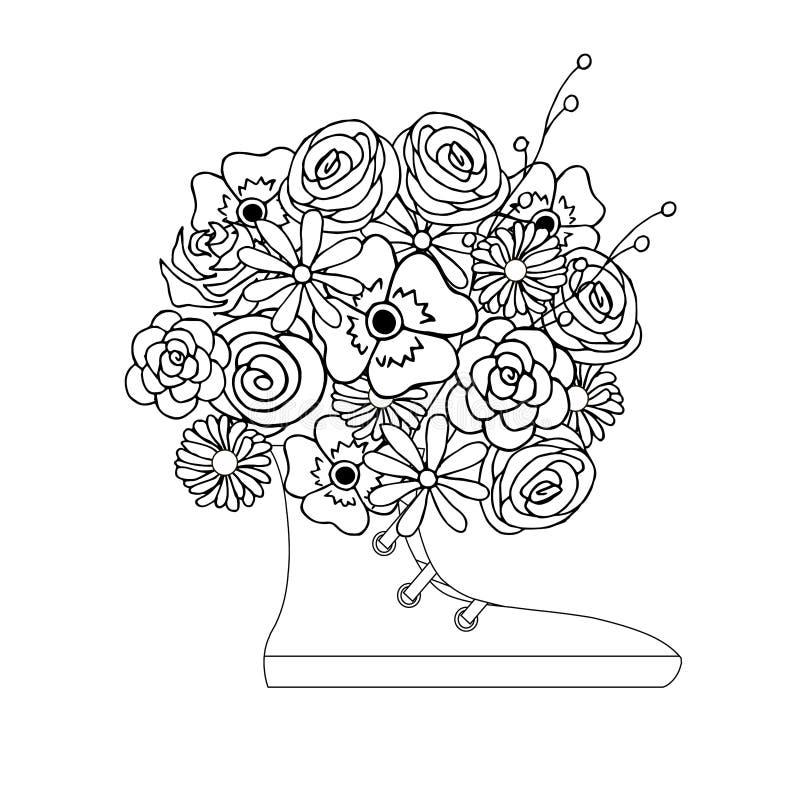 Anti-Stress-Blumen-Bouquet in den Snickern, blühende monochrome Vektor-Illustration vektor abbildung