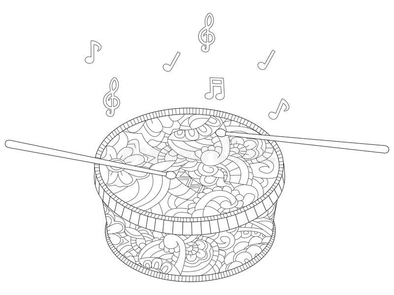Anti stress musical instrument, drum with chopsticks vector. Children coloring, color, black and white vector illustration