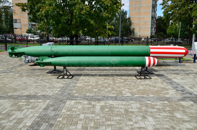 Anti-submarine homing torpedoes. Kaliningrad, Russia. Soviet anti-submarine homing torpedoes. Kaliningrad (formerly Koenigsberg), Russia royalty free stock photo