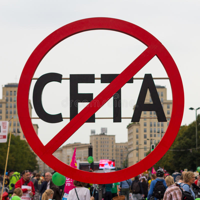 Anti symbole CETA photographie stock