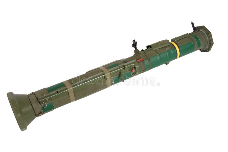 Anti-tank rocket propelled grenade launcher. Isolated on white stock photo