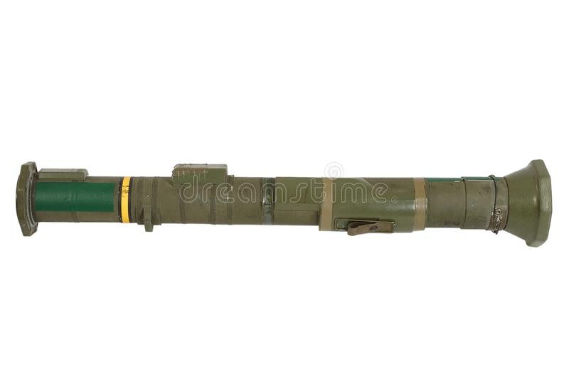 Anti-tank rocket propelled grenade launcher. Isolated on white stock image