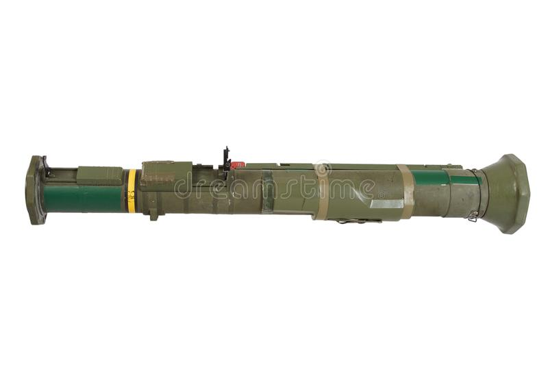 Anti-tank rocket propelled grenade launcher. Isolated on white royalty free stock photo
