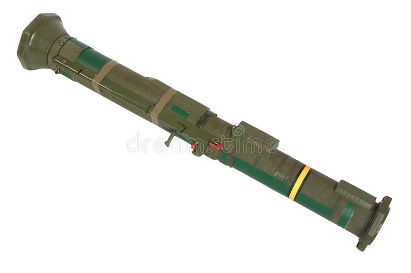 Anti-tank rocket propelled grenade launcher. Isolated on white royalty free stock images
