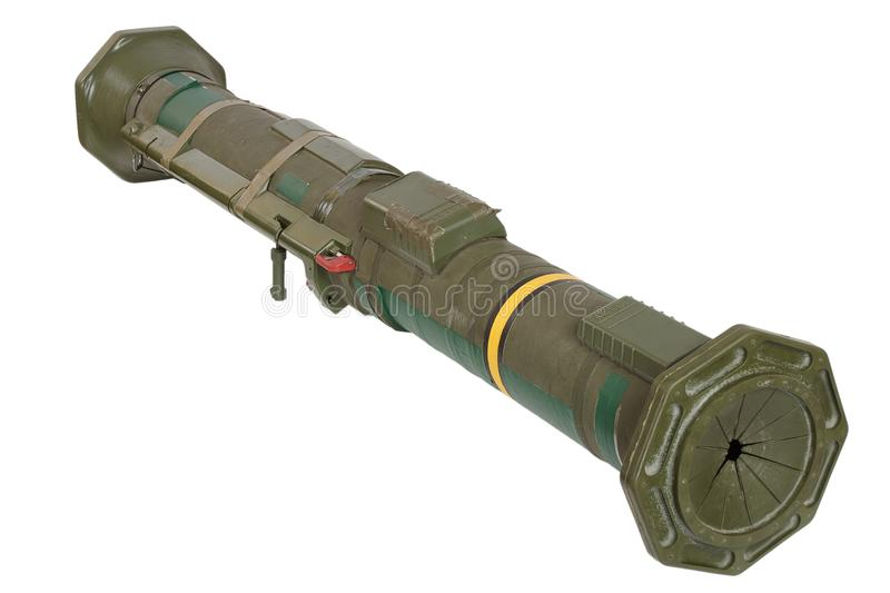 Anti-tank rocket propelled grenade launcher. Isolated on white stock images