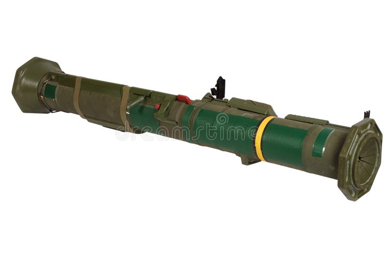 Anti-tank rocket propelled grenade launcher. Isolated on white stock photos