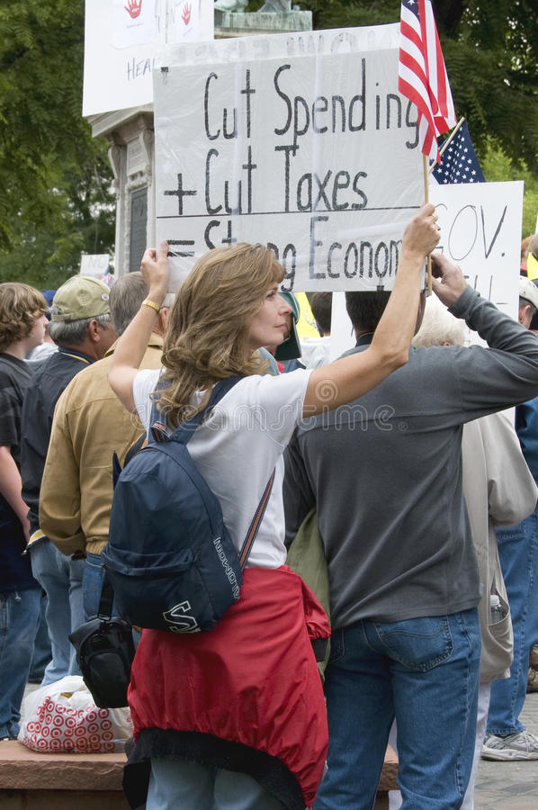 Anti-Tax Demonstrator at Tea Party Rally, Denver royalty free stock images