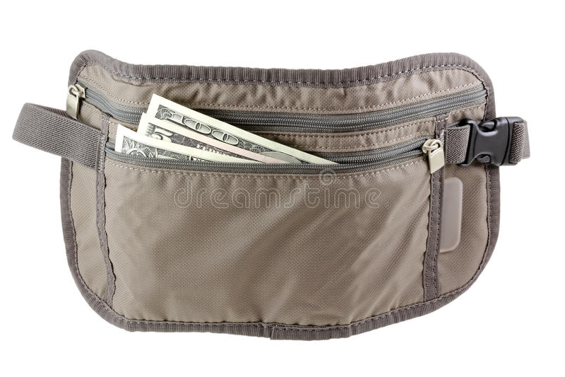 Anti-theft Travel pouch, waist bag royalty free stock photos