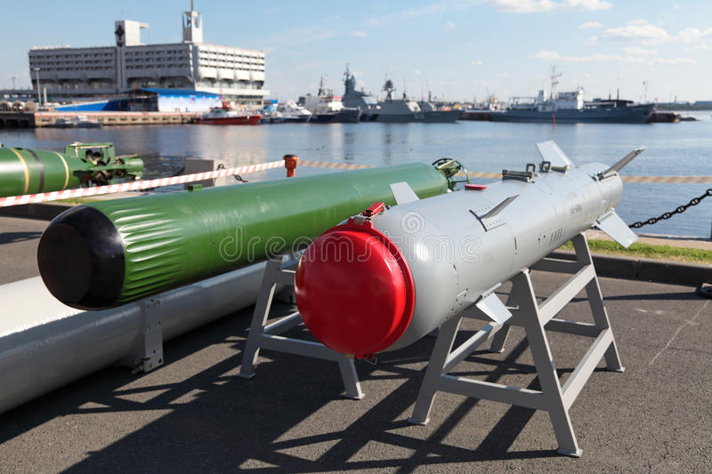 Anti-torpedo and guided bomb. ST.-PETERSBURG - JUL 03: The Anti-torpedo and guided bomb on International maritime defence show (IMDS-2013) on Jul 03, 2013 at stock images