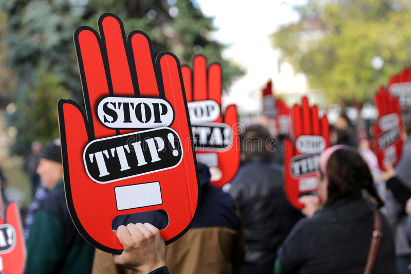 Anti TTIP protest stock photography