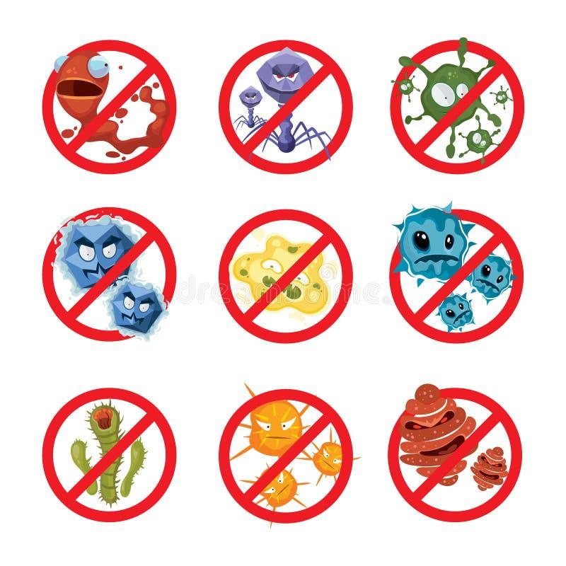 Anti-uppsättning för bakterie- och bakterievektortecken vektor illustrationer