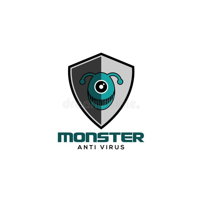 Anti vecteur de logo de virus de monstre illustration de vecteur