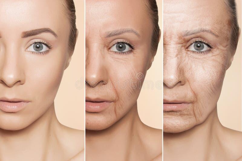 Anti-veroudert procedures aangaande Kaukasisch vrouwengezicht stock foto