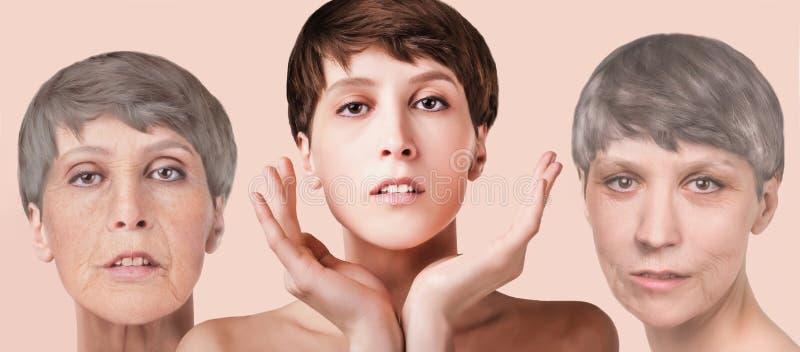 Anti-veroudert, schoonheidsbehandeling, verouderen en jeugd, die skincare, plastische chirurgieconcept de opheffen royalty-vrije stock foto's