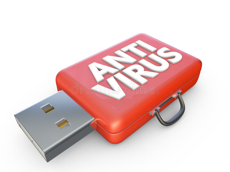 Anti virus. Red suitcase labeled anti virus and usb connector stock illustration