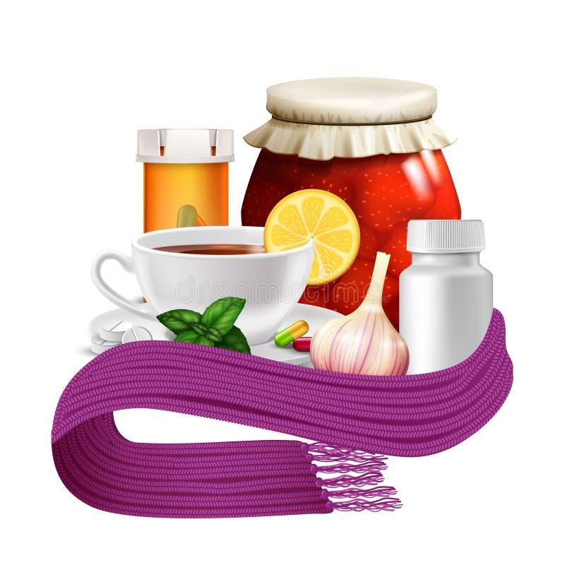 Anti-virus remedies set. With realistic tea cup lemon warm scarf and pills vector illustration vector illustration