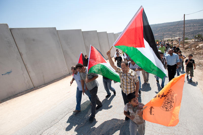 Anti-wall Demonstration, Al-Walaja royalty free stock photo