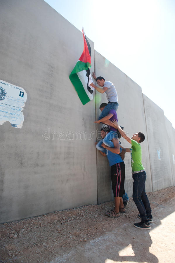 Anti-wall Demonstration, Al-Walaja stock photography