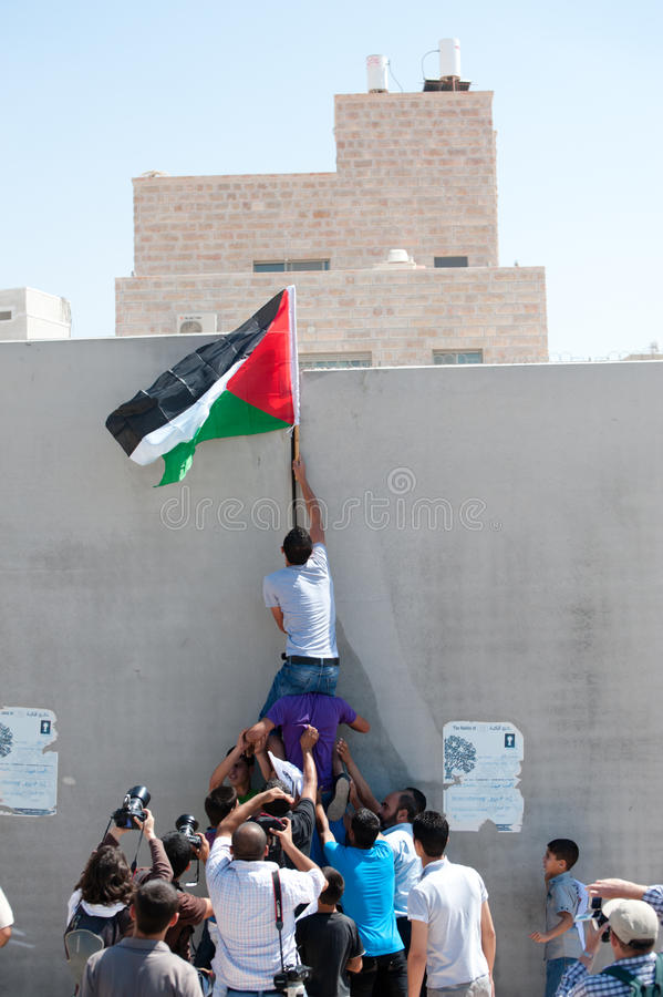 Anti-wall Demonstration, Al-Walaja royalty free stock photo