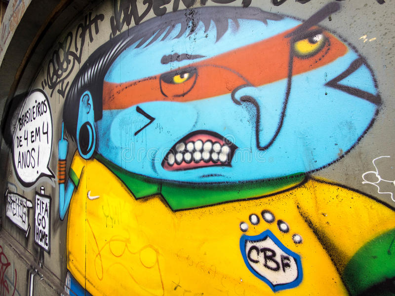 Anti-Weltschalen-Straße Art Protest in Sao Paulo, Br stockbilder