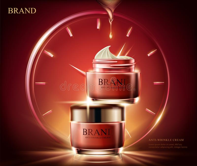 Anti-wrinkle cream ads. Cosmetic red cream jar with light effect composed of clock in 3d illustration, red background stock illustration