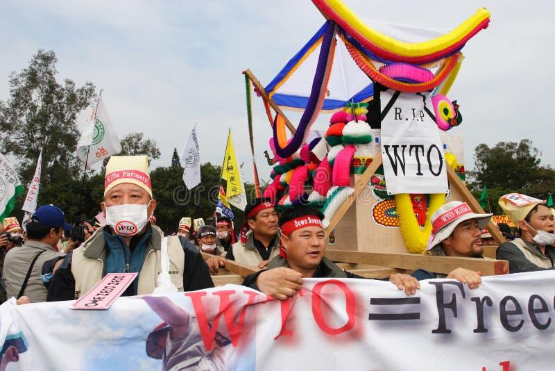 Anti-WTO Protests in Hong Kong stock photos