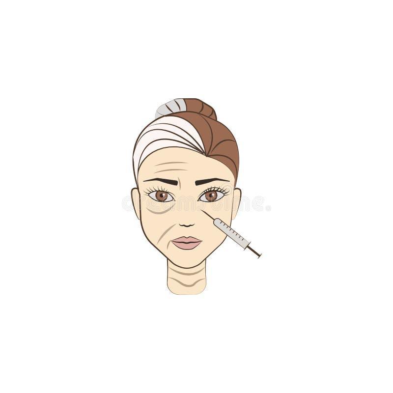 antiaging botox χρωματισμένο εικονίδιο Στοιχείο της ομορφιάς και του αντι εικονιδίου γήρανσης για την κινητούς έννοια και τον Ιστ ελεύθερη απεικόνιση δικαιώματος