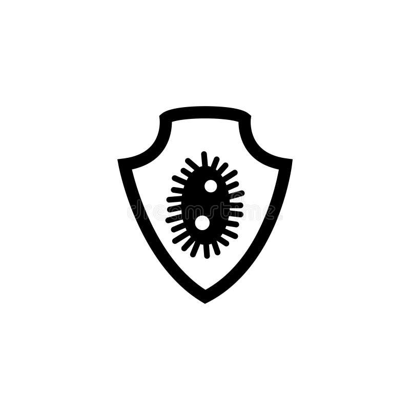 Antibacterial. Anti Virus Shield Protection Flat Vector Icon. Antibacterial. Anti Virus Shield Protection. Flat Vector Icon. Simple black symbol on white royalty free illustration