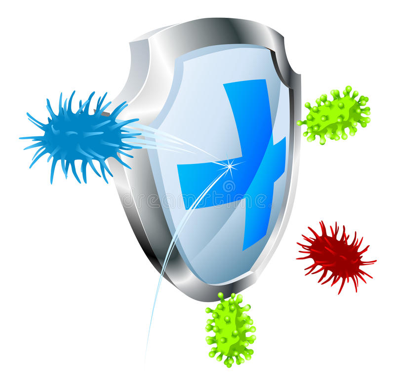 Antibacterial or antiviral concept. Shield with virus or bacteria bouncing off it. Antibacterial or antiviral concept. Could also represent computer virus stock illustration